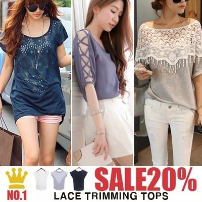 [Hot in JP]Lace Shoulder top lace up sleeve blouse Shorts Skirts Blouse T-Shirts women fashion
