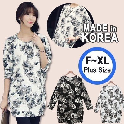 ★Made in KOREA★2014 NEW Style Loose fit long rose T-shirt /Big Size /plus size / High Quality / autumn wear/ blouse/top/autumn wear /Stylementor