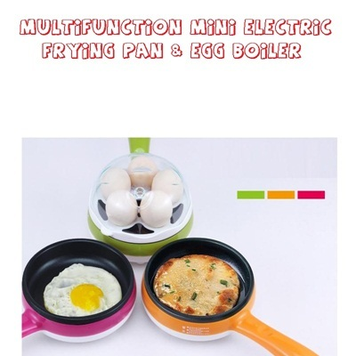 Multifunction Mini Electric Egg Boiler And Frying Pan / Steamer Boiled / Alat Kukus Telur