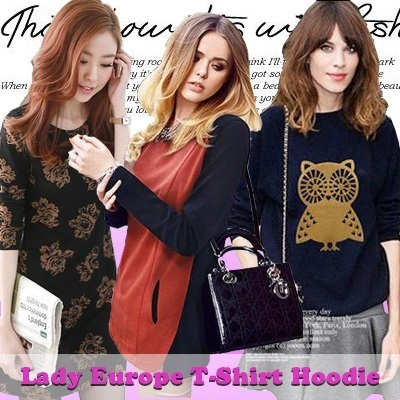 European Lady T-Shirt Hoodie Fashion Hoodie T-shirt Sweater