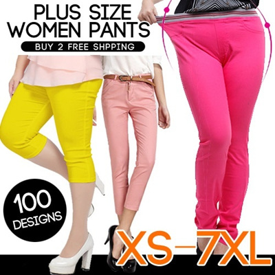 XS - 7XL Plus Size Casual Pants / Harem Pants Long Pants Skinny Pants Candy Colorful Pants Top Plus Size Women Fashion