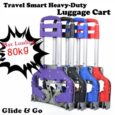 【New arrivals! Travel Smart Heavy-duty Foldable Luggage Cart/Trolley】【Max loading 80kg 】Space saving/Portable/Free 1pc bungee cord!