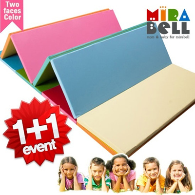 [MIRABELL] TWO FACES COLOR / PREMIUM Quality Baby Play mat for safety! Made in Korea! DUPLO 4pads folding mat