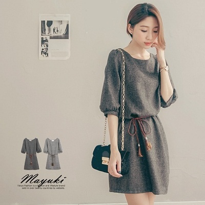 MAYUKI - Puff Sleeve Wool Dress With Ribbon-Tie-4020927