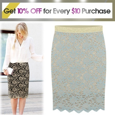 ★Get 10% OFF for Every $10 Purchase★[[Free-Shipping Gold-Rubber band lace skirt] 2014 Best Popular skirt /women fashion women clothing winter/ Excellent Flexibility and comfort / midi-length / beautif