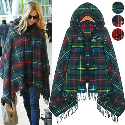 ★Free shipping★Check Togle Pancho_006372 women fashion women clothing
