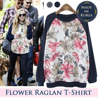 ☆★Only Today Sale NEW ARRIVAL★☆Made in Korea / Flower Raglan Women Top 100% Cotton T-Shirt Fashion PAPA-L
