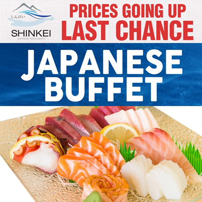 [LAST CHANCE] A La Carte Japanese Lunch/Dinner Buffet by Shinkei Japanese Restaurant.Located at Toa Payoh Town Centre. Follow our Qoo10 shop to get FREE MameQ.