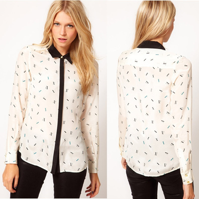 [BeautifulPlace] Ladies UK Style Casual Work Blouses Button Top Trendy Stylish Korea