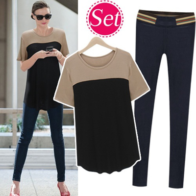 [SET]Color Block T-Shirts+Spandex Banding Skinny_213553 women fashion women clothing