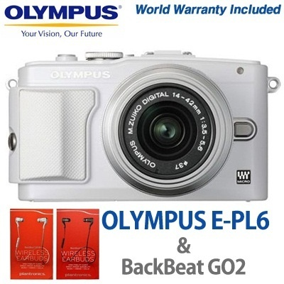 [OLYMPUS with Plantronics] Olympus Pen Lite E-PL6 14-42mm Kit world warranty with Plantronics BackBeat GO2