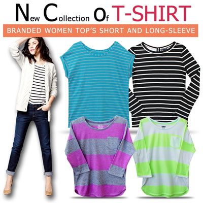 [Updated 03/11]Branded Striped Loose fit tee_very Comfortable material_Short and 3/4 sleeves