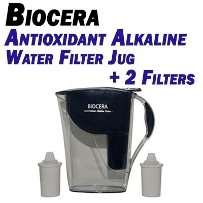BIOCERA Antioxidant Alkaline Water Filter Jug + 2 Filters