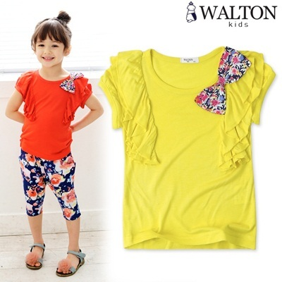 100% / fashion shirt / bigger ribbon / vivid color Cutie ribbon ruffle shirt / shoulder frill / cotton