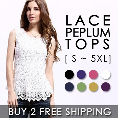 [BUY 2 FREE SHIPPING] Summer Lace Peplum Tops/European Fashion Casual Women Lace Sleeveless Blouse/Plus Size Tops