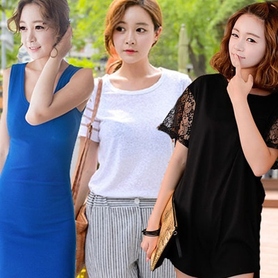 100% Made in KOREA Plus size T-Shirt FREE SHIPPING [Top Shop] women fashion women clothing Plus Size T-Shirts Over 100 Style Customer Satisfaction High products in Korea Girlish Long T-Shirts!