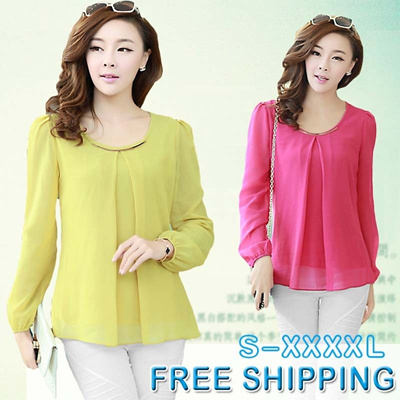 [Fast shipping]Sizes S-XXXXL 2013 NEW ARRIVAL Long sleeve Shirt/Tops/Blouse