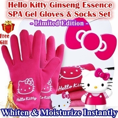 [Special Sale] Hello Kitty Ginseng Essence SPA Whitening Gel Gloves and Socks Gift Set With Free Gift Beely Brand Birthday Gift
