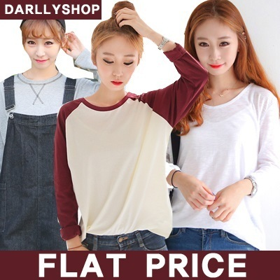 ★Flat Price★ Free Shipping★[darllyshop]  Korea Open Market Best Selling tee /t-shirts / Long Sleeve Tshirts / 42nd5 / stripe / knit / Cotton