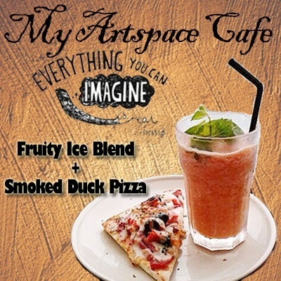 #CafeHop! My Art Space Cafe [Dhoby Ghaut] Usual Price: $14.50. Fruity Ice Blend + Smoked Duck Pizza by My ArtSpace Cafe. MON - SAT (3pm-6pm)