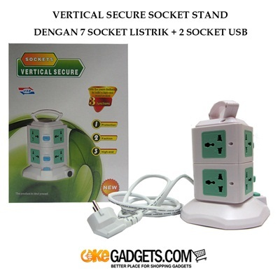 VERTICAL SOCKET STAND DENGAN 7 SOCKET + 2 SLOT USB