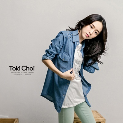 Tokyo Fashion - Studded Denim Shirt With Pockets-4017511