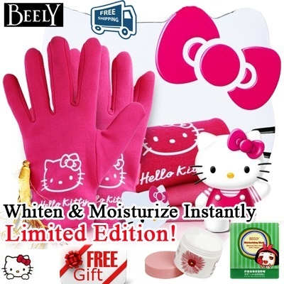 【Special Promotion!】Beely Brand Hello Kitty Ginseng Essence SPA Whitening Gel Gloves and Socks Gift Set*Free Shipping+Beely Hand Cream and Face Mask
