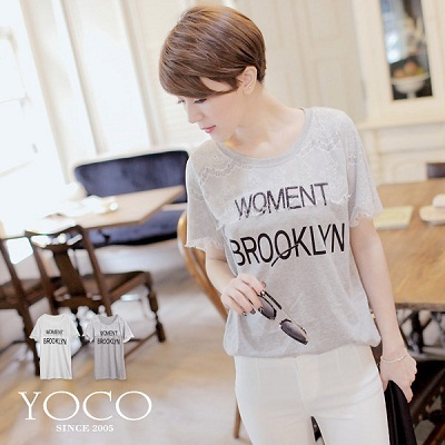 YOCO - Korean- Letter Print Cotton Tee With Lace Detail-4008863