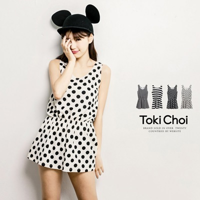 Tokyo Fashion - Black And White Waisted Trapeze Sleeveless Top-4017790
