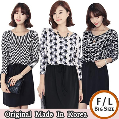 ★Made in Korea★Patterned Dress (4 types) / Plus Size Available! (F~L) / Waist Banding / High Quality / Comfortable Feminine Basic item / Stylementor