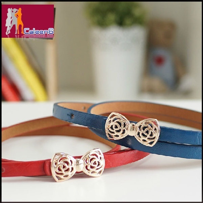 Candy color thin belt female version of hollow bows fine belt FS1285