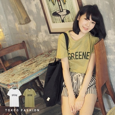 Tokyo Fashion - Crew Neck Letter Print Cotton Tee With Roll Up Sleeves-4016766