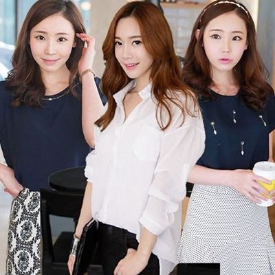 100% Made in KOREA lovely chiffon style blouse  [Top Shop] women fashion women clothing blouse Over 50 Style Customer Satisfaction High products in Korea lovely blouse!