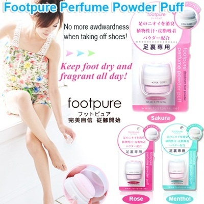 (NEW)女人我最大 Japan Footpure Perfume Powder Puff/ Use for 1 month! Great smelling feet all day!