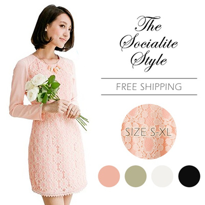 Socialite Style Fashion Quality Lace Dress Work Dress Party Dress Casual Date Korean Dress