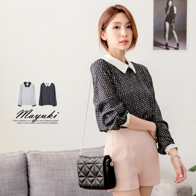 MAYUKI - Check Chiffon Top With Shirt Collar-4019501