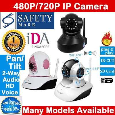 Authentic Vstarcam IP Camera CCTV☆SD Card Slot☆Pan/Tilt☆720P HD☆Night Vision☆Wireless☆IDA Approved☆Safety Mark Adapter☆Free Android/iOS app