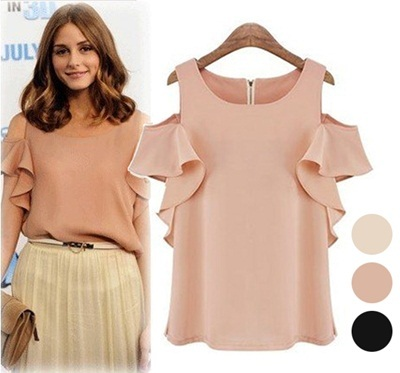 [Free Shipping] Europe Style Ladies Open Shoulder Flutter Sleeves Top Blouse Christmas