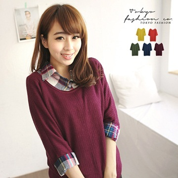 Tokyo Fashion - Elbow Length Scoop Neck Brushed Top-3016544