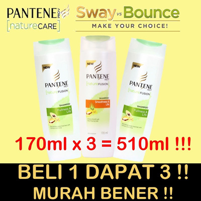 BELI 1 DAPAT 3! PANTENE SHAMPOO [170mlX3=510ml] - NATURE CARE - SMOOTHNESS - FULLNESS LIFE
