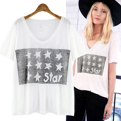 ★FREE SHIPPING★STAR V-NECKLINE BOX T-SHIRT-GO1007 women fashion