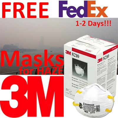 3M Makes 8210 Particulate Respirators N95 20-Pack for Haze for Singapore customers!!! Free FedEx Shi