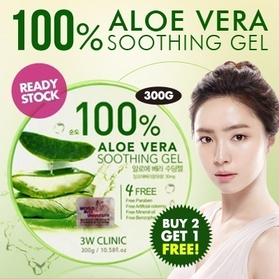 *3 tubs pack* [3W Clinic] 100% Aloe Vera Gel 300g. HIGHEST CONCENTRATION
