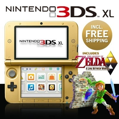 Nintendo 3DS XL (Gold) with The Legend of Zelda game/Nintendo 3DS XL (Gold) with Mario and Luigi gam