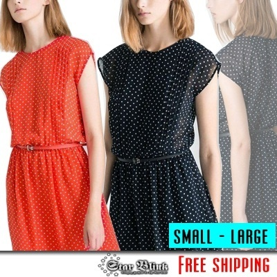 Polka Chiffon Dress (Small-Large) - Z5170