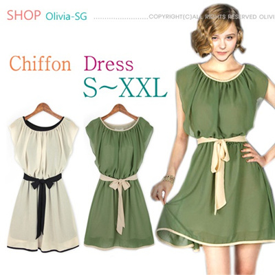 [Olivia]2014 New Chiffon One-Piece Sleeveless Double Layer Sweet Dress/Skirt/Top/