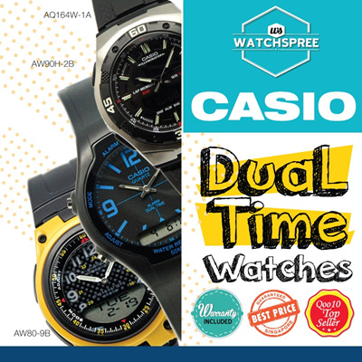 [CHEAPEST PRICE IN SPORE] *CASIO GENUINE* DUAL TIME SERIES! Free Shipping and 1 year warranty!