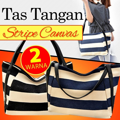 STRIPE CANVASS TOTE BAG 2 COLOUR YA2488