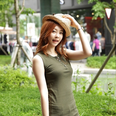 4SV [Korea best product] Long sleeveless / PRINTING / button / sleeveless dress / Corrugated / fried