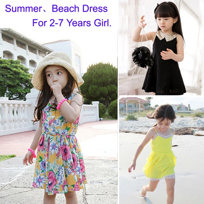 ★Pretty Girls 2-7 Years★ 2014 Summer Collection New Arrival Little Girl/Kids Cute Princess Dress Party Dress School Dress Beach Dress Summer Dress